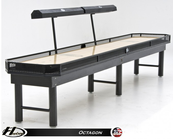16 Foot Black Wooden Shuffleboard Table For Sale