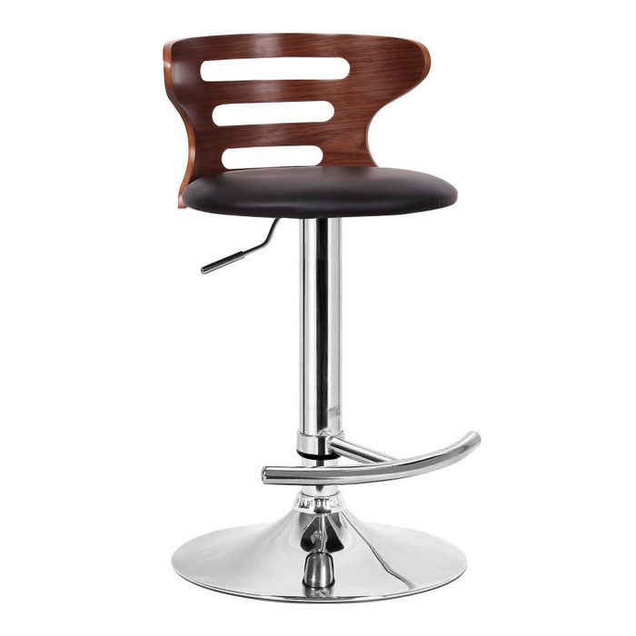 24 Inch Counter Stools With Wooden Brown Back And Black Leather Seat For Home Furniture Ideas