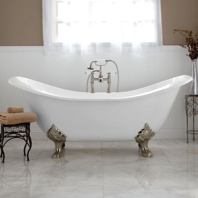 71 Inch Bell Brook Cast Iron Clawfoot Tub With Lion Paw Feet On White Ceramics Floor Matched With Tan Wall With White Wainscoting For Bathroom Decor Ideas