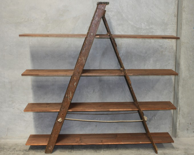 A Shaped Of Wooden Ladder Bookshelf In Brown For Home Furniture Ideas