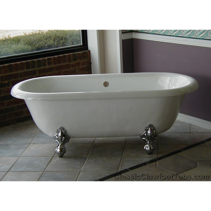 Acrylic White Bath Up With Clawfoot Tub On Grey Floor For Bathroom Decor Ideas