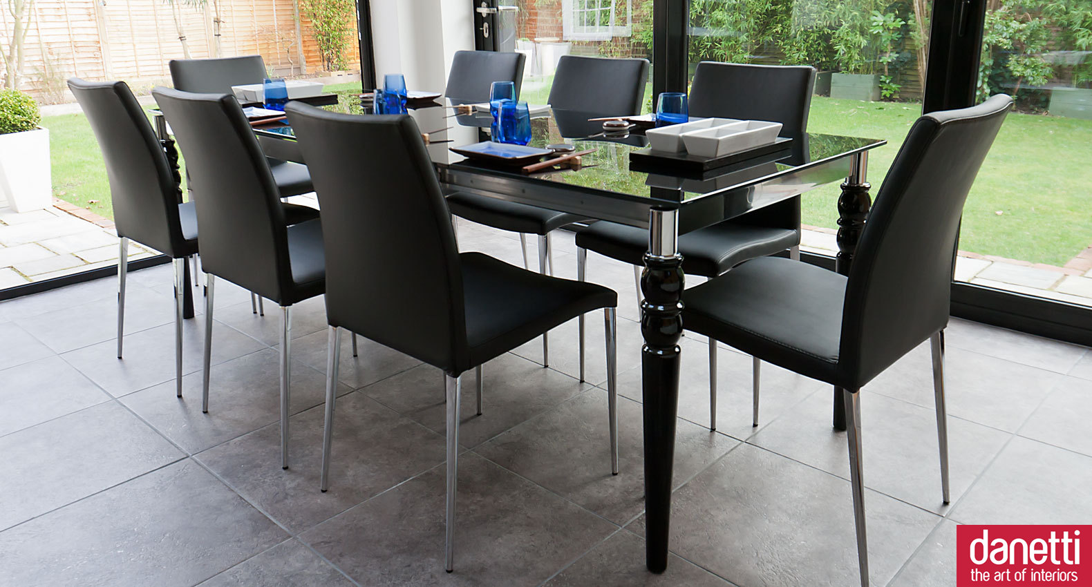 Agreeable Dining Room with expandable dining table set in black on grey ceramics floor ideas
