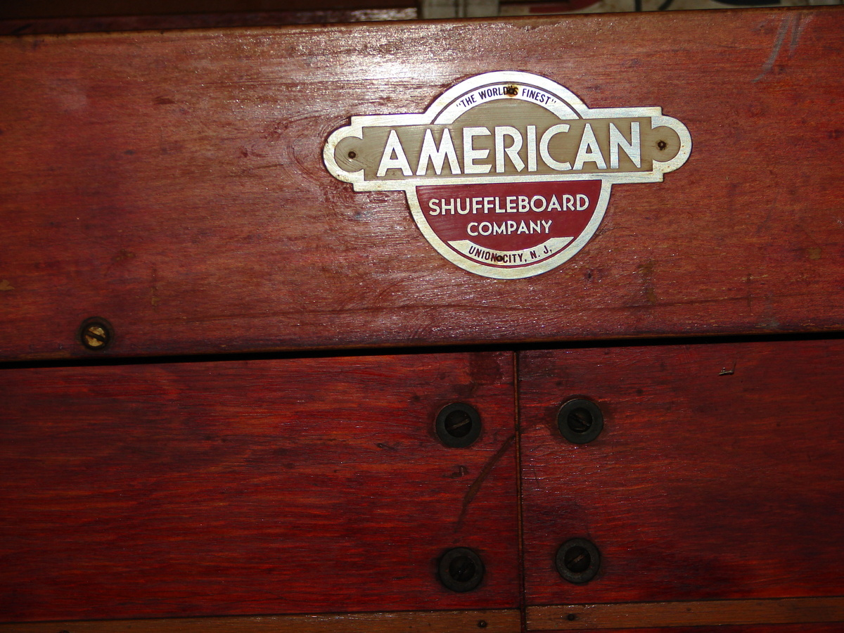 american brown wooden shuffleboard table for sale