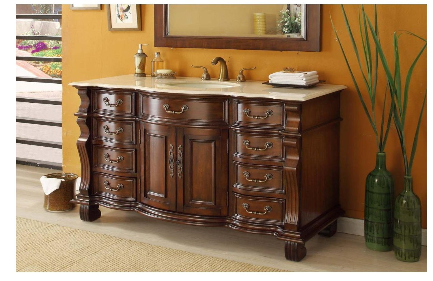 vintage bathroom vanity sink cabinets. antique brown wooden bathroom vanities with tops plus sink and faucet on  wheat ceramics floor matched Bathroom Inspiring Vanities With Tops For