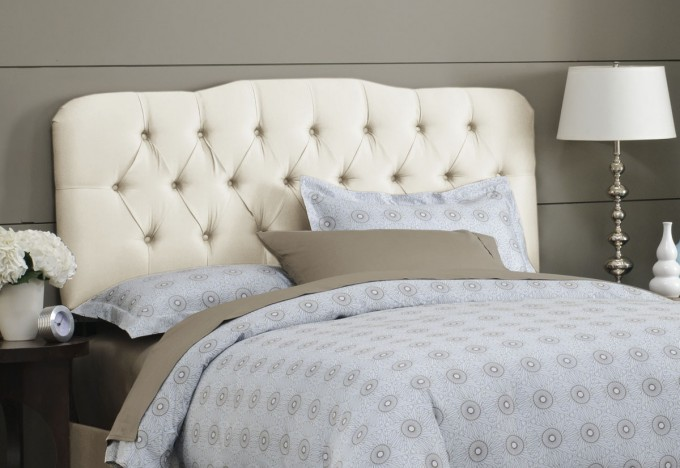 Antique White Upholstered Headboards With Gray Dotted Bedding Before The Gray Wall Plus Nightstand With Table Standing Lamp For Bedroom Decor Ideas