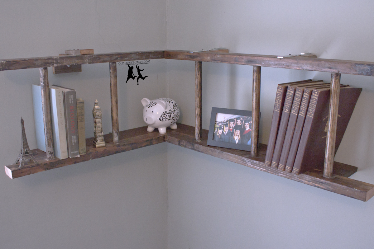 antique wooden ladder bookshelf on white wall for home decor ideas