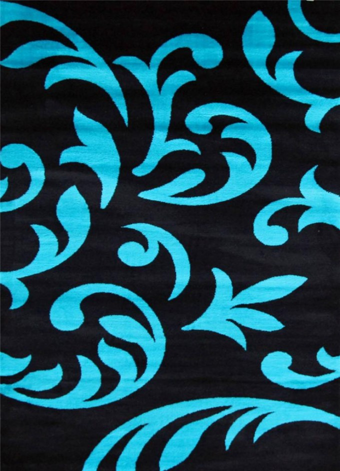 Awesome 5x7 Area Rugs In Black With Light Sky Blue Floral Pattern For Floor Decor Ideas