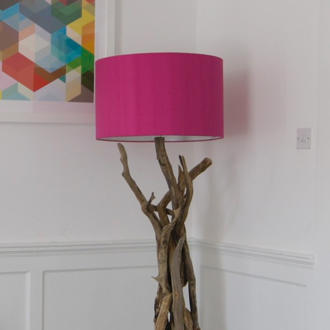 awesome Driftwood Floor Lamp with pink head before the white wall for home decor ideas