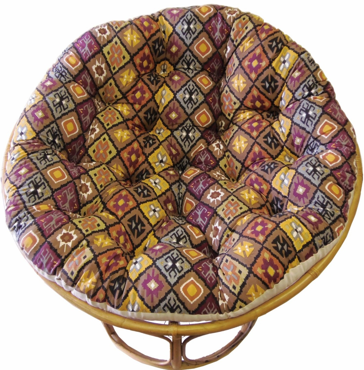 Awesome Rattan Outdoor Papasan Chair With Colorful Tufted Cushion Seat In Multicolor For Charming Furniture Ideas