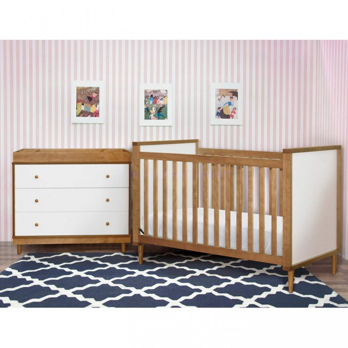 Babyletto Baby Cribs On Navy Carpet Matched With Vertical Stripped Wallpaper Plus White Cabinet For Nursery Decor Ideas