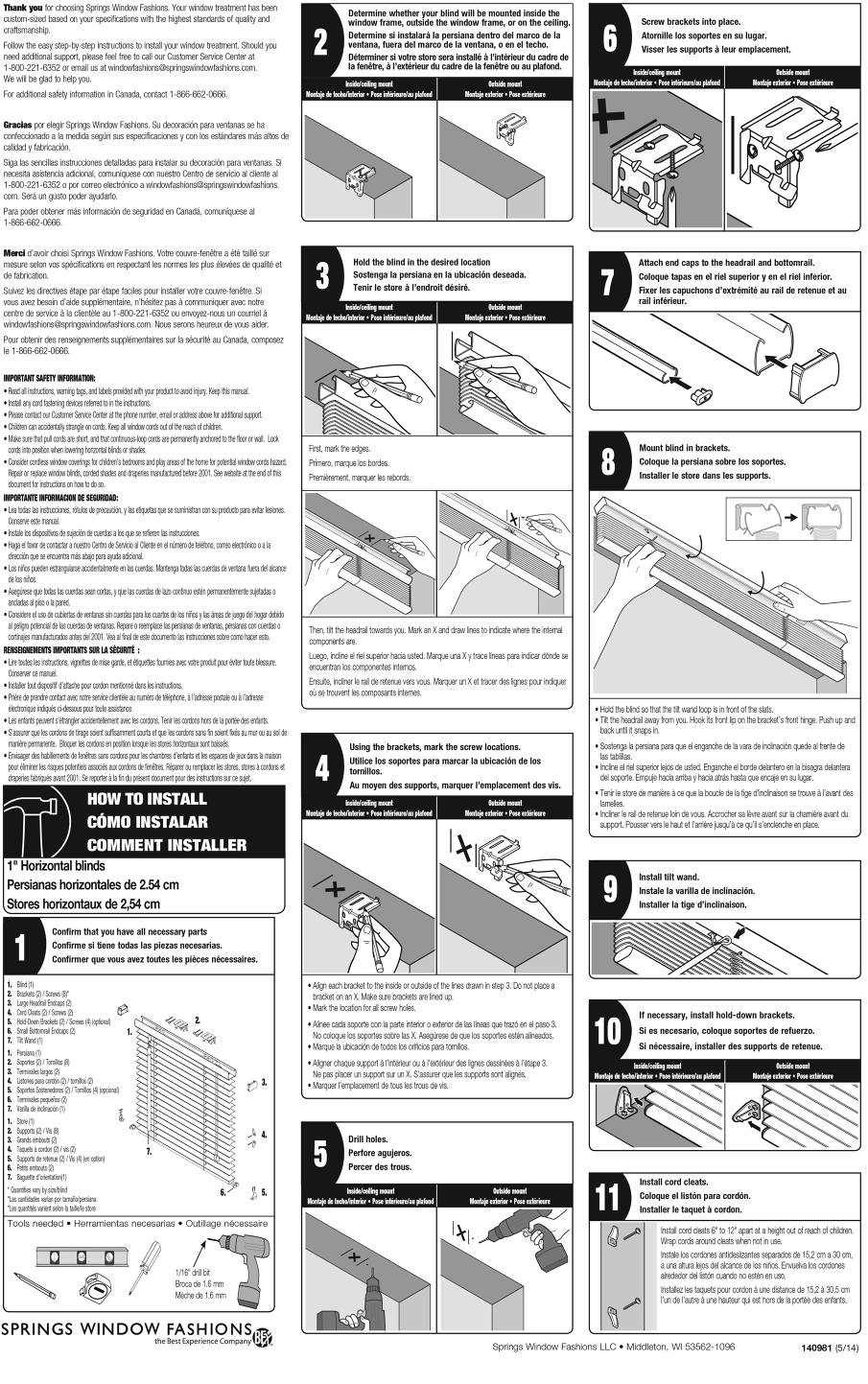 Bali Blinds Instruction Sheet