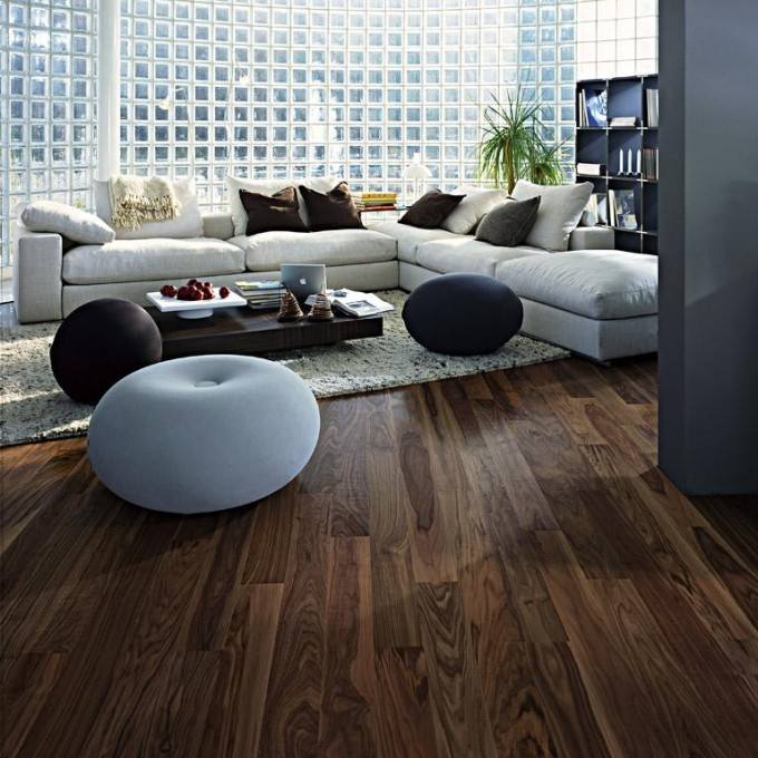 Bamboo Teragren Flooring Matched With Decorative Wall Plus White Sofa Set For Living Room Decor Ideas