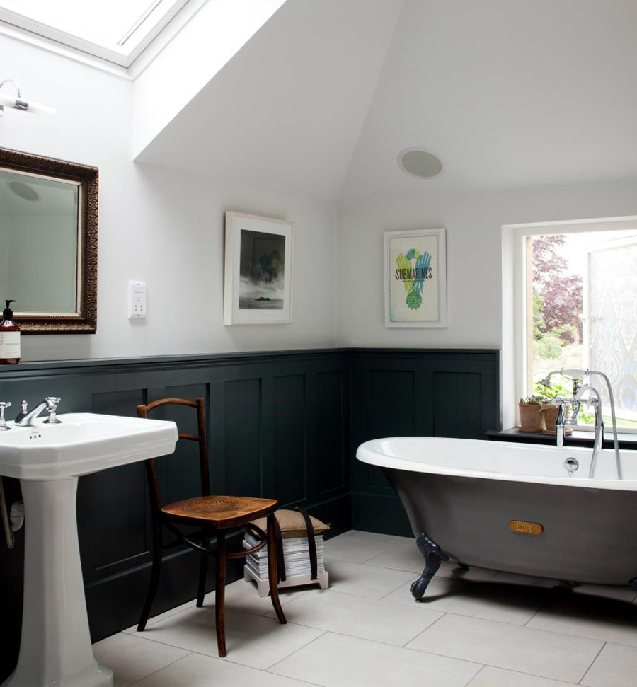 Bathroom Decor Ideas Clawfoot Tub On White Ceramics Floor Matched With White Wall Plus Black Wainscoting
