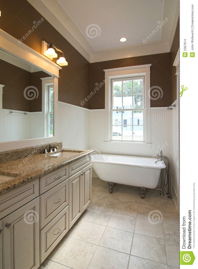 Bathroom Decor With Clawfoot Tub On Cream Ceramics Floor Matched With Brown Wall And White Wainscoting Ideas