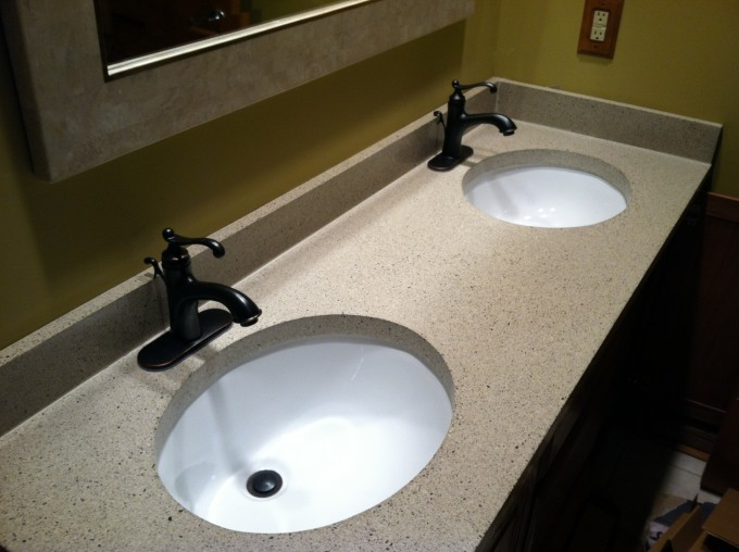 Bathroom Vanities With Tops And Double Sinks And Double Faucets For Bathroom Furniture Ideas