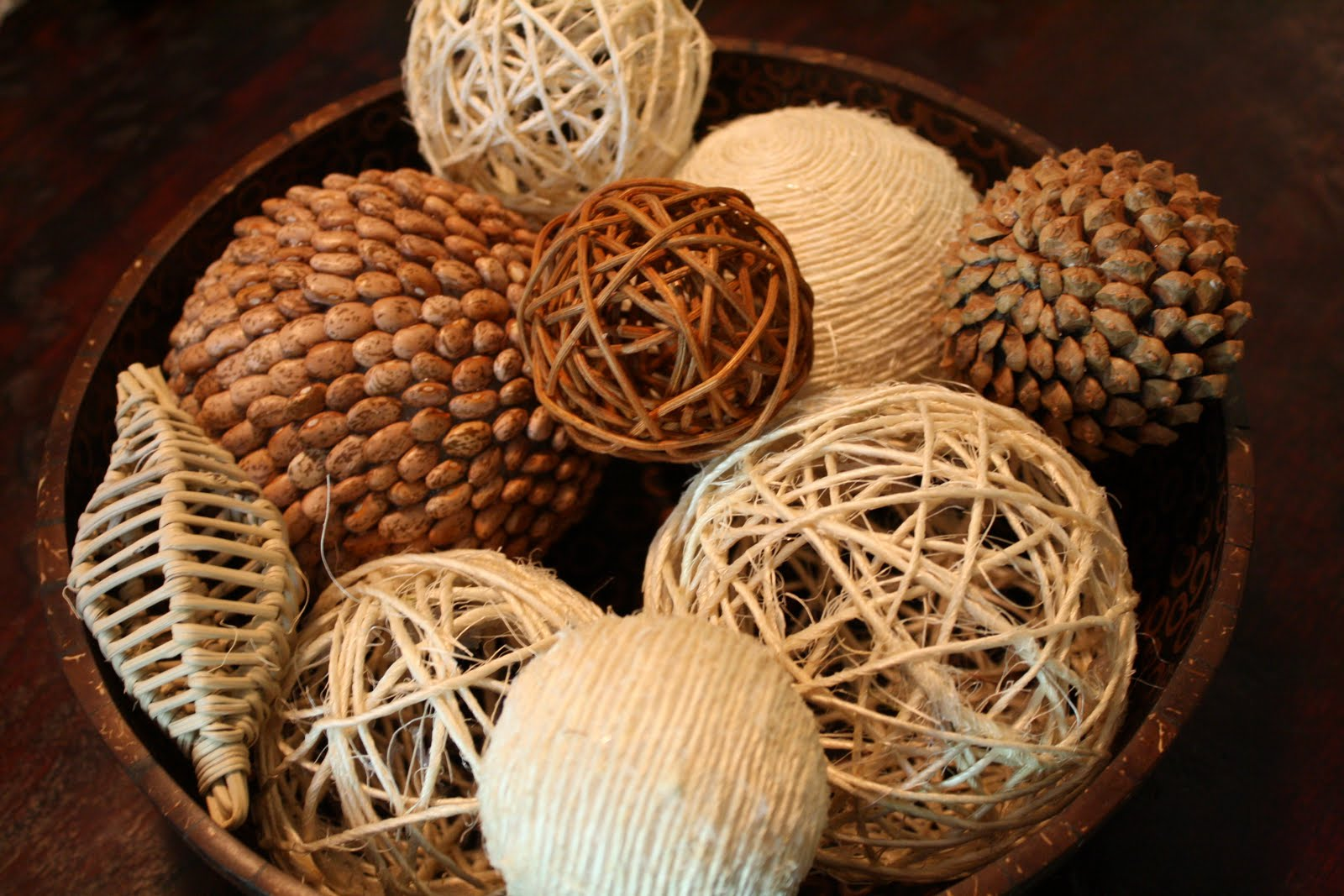 bayberry creek Crafted DIY decorative orbs in brown bowl for table accessories ideas