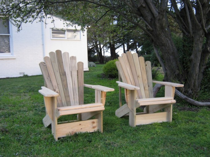 Beautiful Teak Adirondack Chairs On Grass For Patio Decor Ideas
