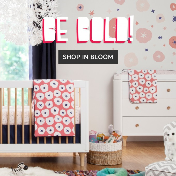 Bedding By Babyletto On Wooden Floor Matched With Nice Wallpaper Plus Cabinet For Nursery Decor Ideas
