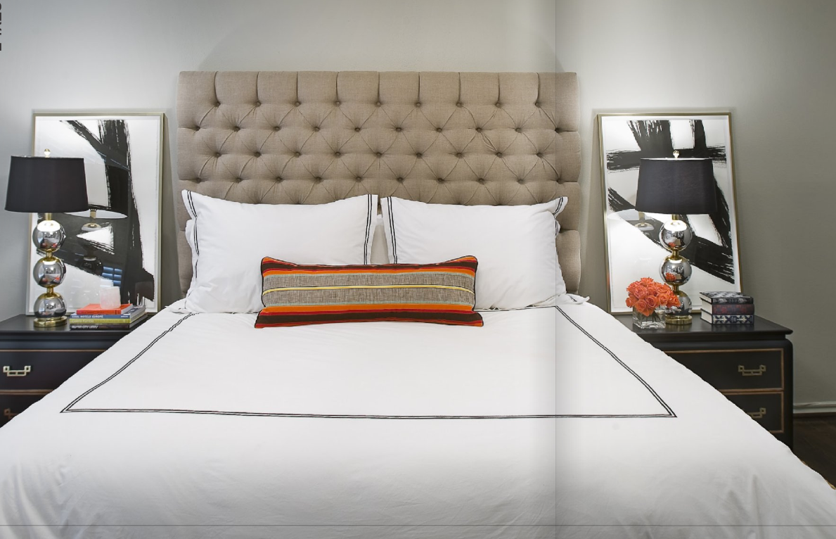 Bedroom: Beige Tufted Upholstered Headboards With White Bedding ...