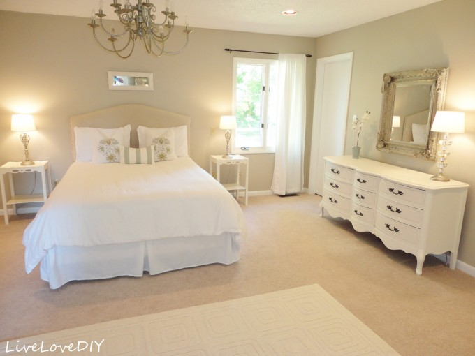 Beige Upholstered Headboards With White Bedding On Beige Flooring Matched With Beige Wall Plus Nightstand And Table Standing Lamp For Bedroom Decor Ideas