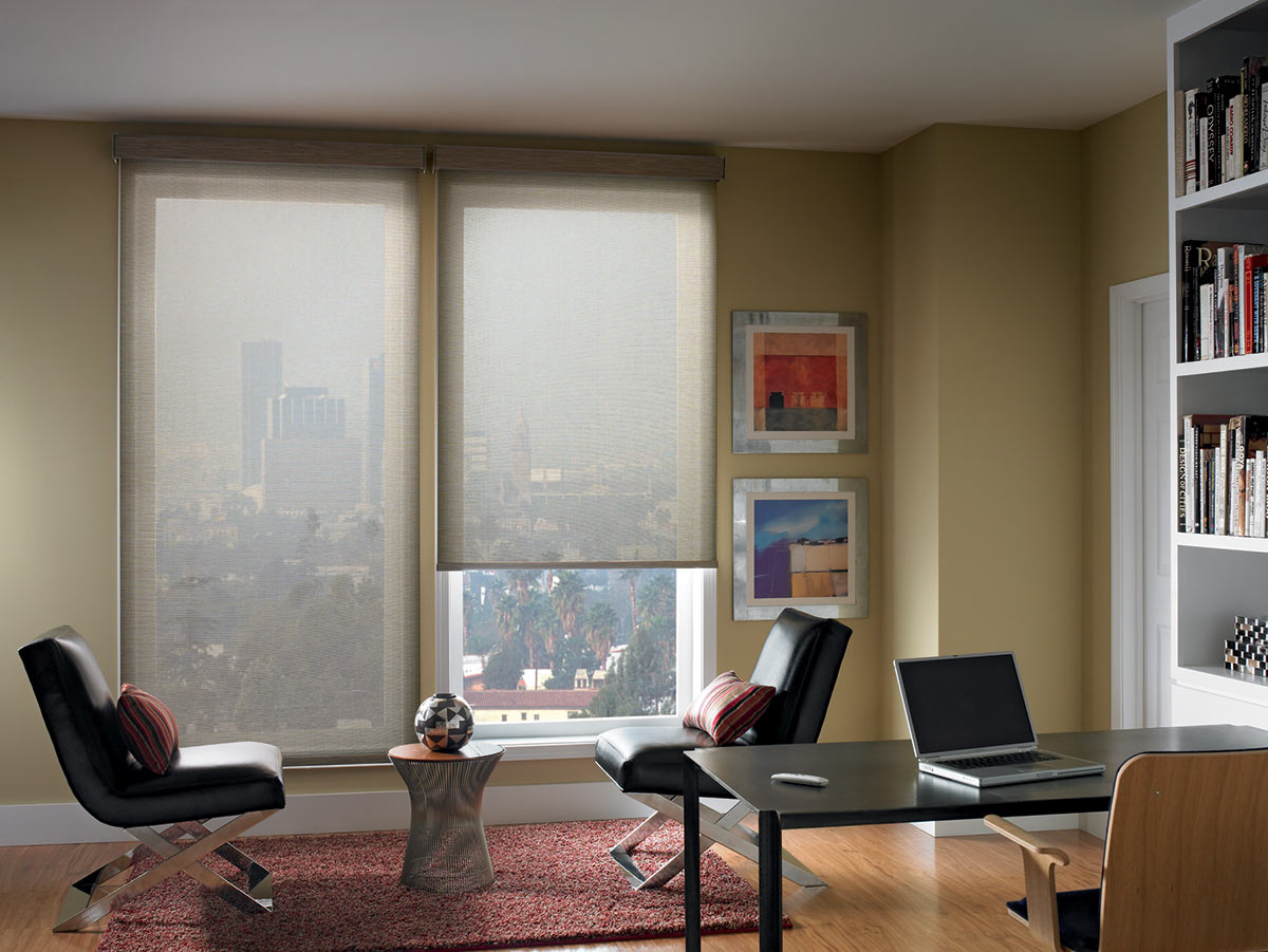 beige wall with glass window and bali blinds matched with wooden floor plus desk for apartment office ideas