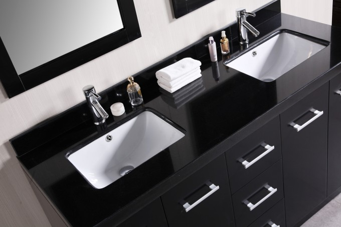 Black Bathroom Vanities With Tops In Black And Double Sinks And Faucets Before The Wheat Wall Plus Double Mirrors For Bathroom Decor Ideas