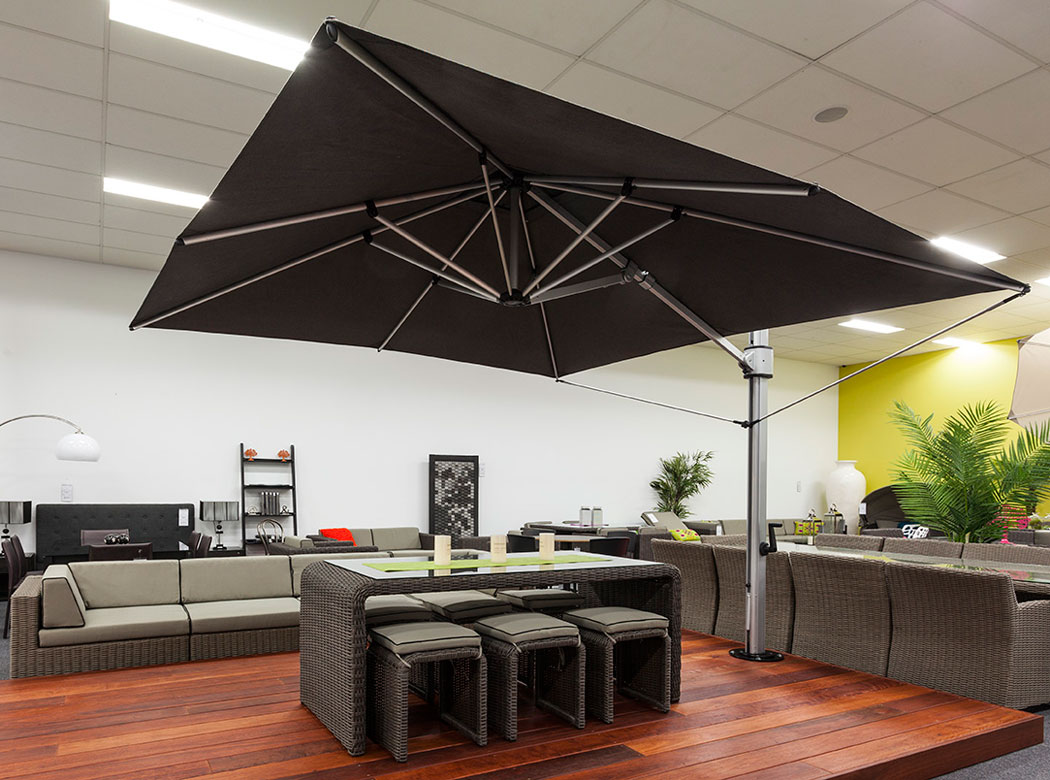 black cantilever patio umbrella with white metal stand for indoor or outdoor furniture ideas