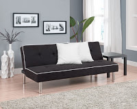 black cheap futons with white cushions on wooden floor plus grey carpet matched with grey wall for living room decor ideas
