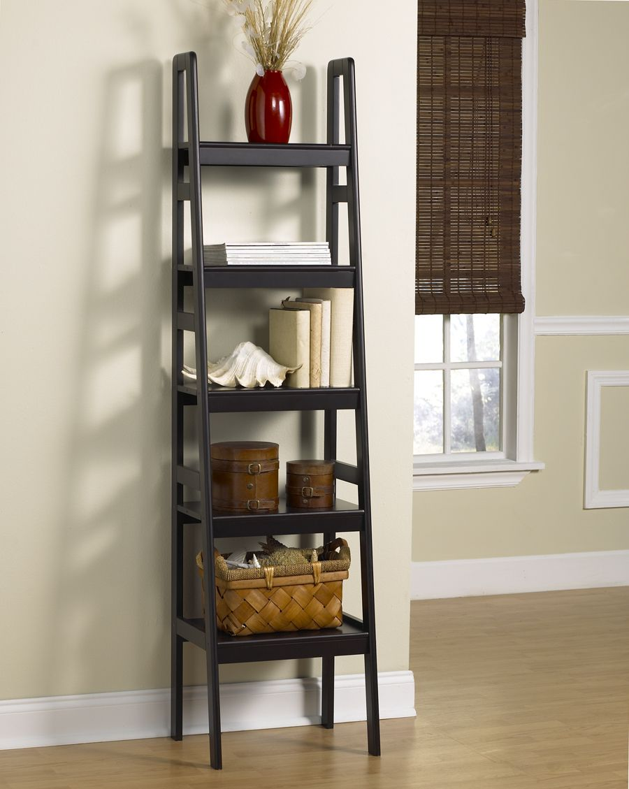 Black Ladder Bookshelf Ikea on wooden floor matched with wheat wall plus white baseboard molding for interior decor ideas