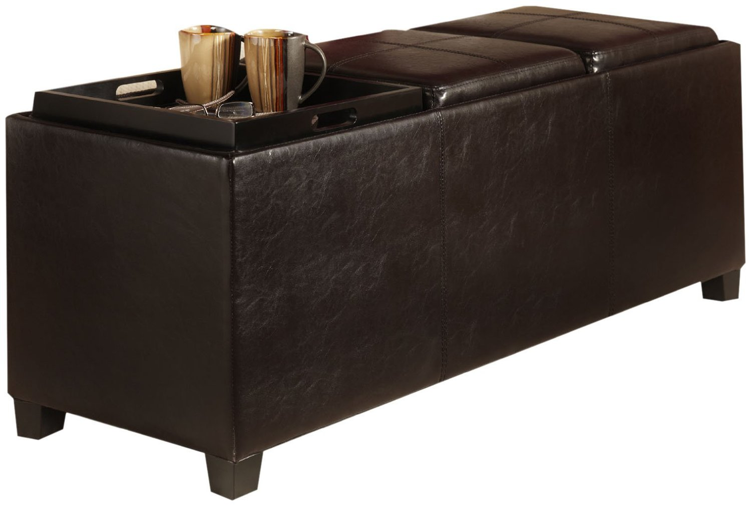 black leather ottoman with black large ottoman tray for home furniture ideas