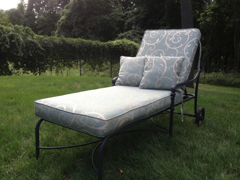 Black Metal Bench With Floral Sunbrella Cushions For Charming Home Furniture Ideas