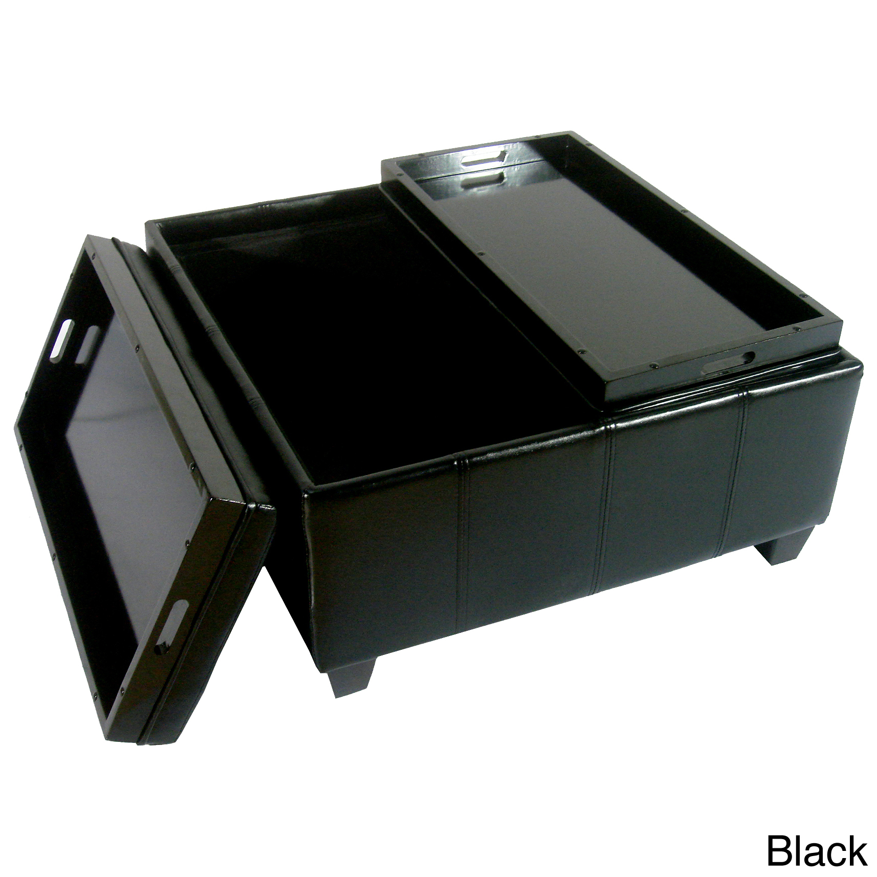 black ottoman with large ottoman tray for home furniture ideas