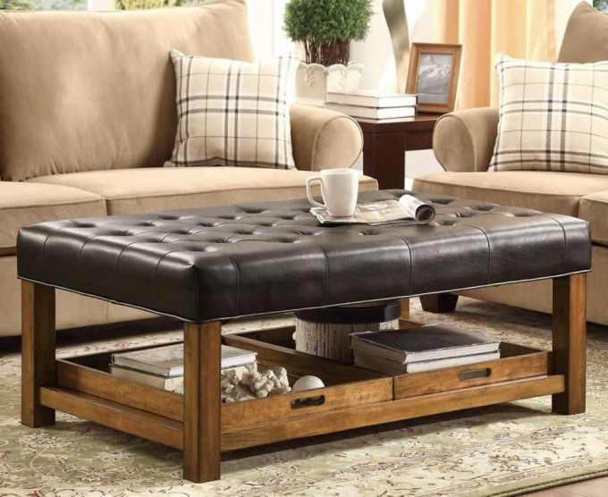 Black Ottoman With Large Ottoman Tray Under It For Home Furniture Ideas