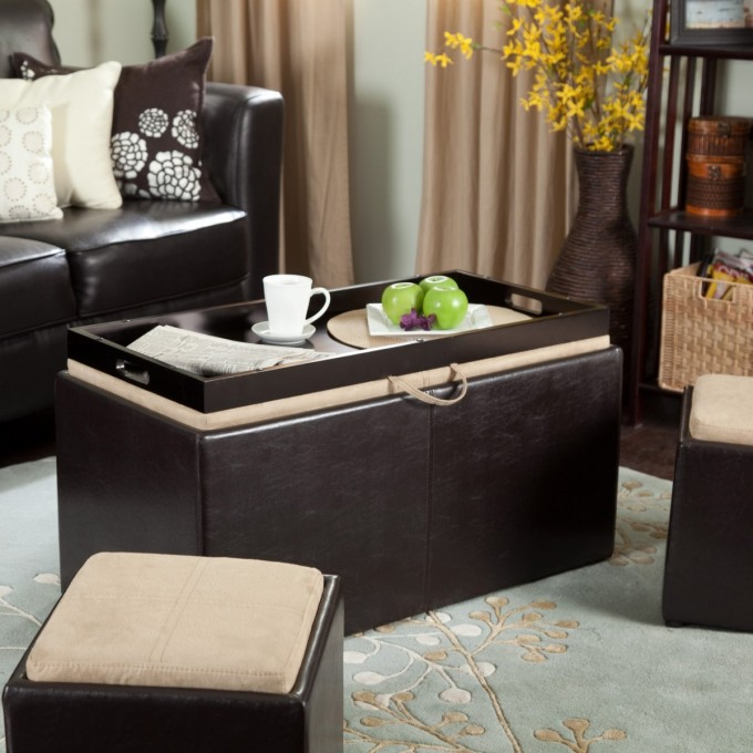 Black Ottoman With Rectangle Wooden Large Ottoman Tray In Black On Grey Floral Carpet Plus Black Leather Sofa Plus Cushion For Living Room Decor Ideas