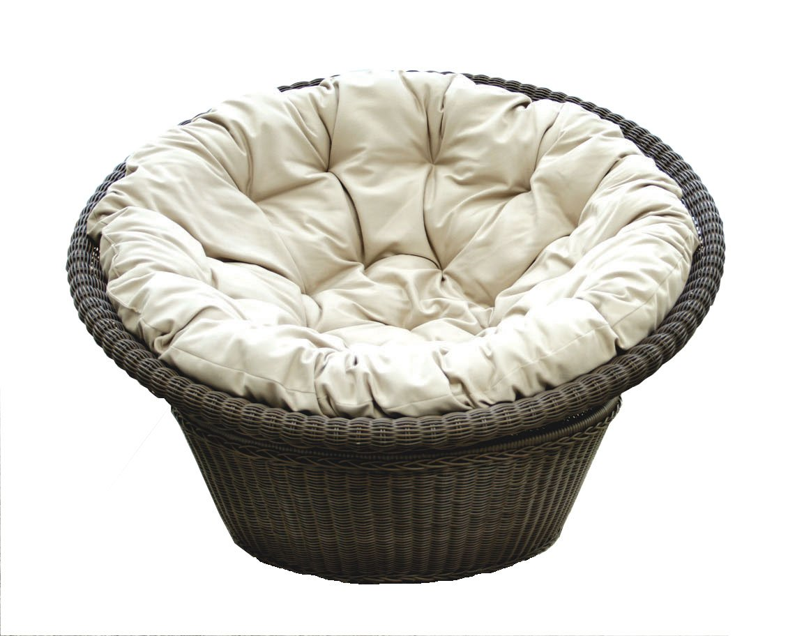 Black Rattan Outdoor Papasan Chair With White Tufted Cushion Seat For Charming Furniture Ideas