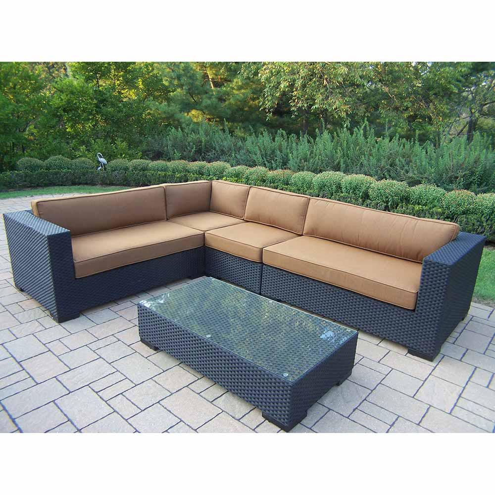 Black Wicker Sofa With Tan Sunbrella Cushions Plus Rectangle Table For Outdoor Living Room Decor Ideas