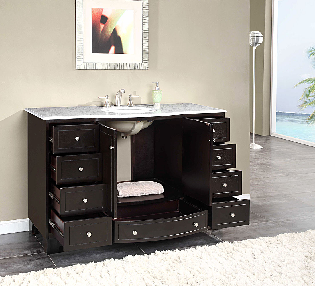 Black Wooden Bathroom Vanities With Tops And Single Sink And Faucet For  Bathroom Decor Ideas