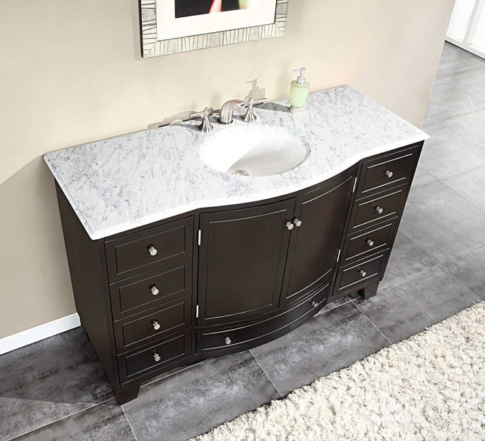 Black Wooden Bathroom Vanities With Tops And Single Sink Plus Faucet In Black Ceramics Floor Matched With Cream Wall Plus Mirror For Bathroom Decor Ideas