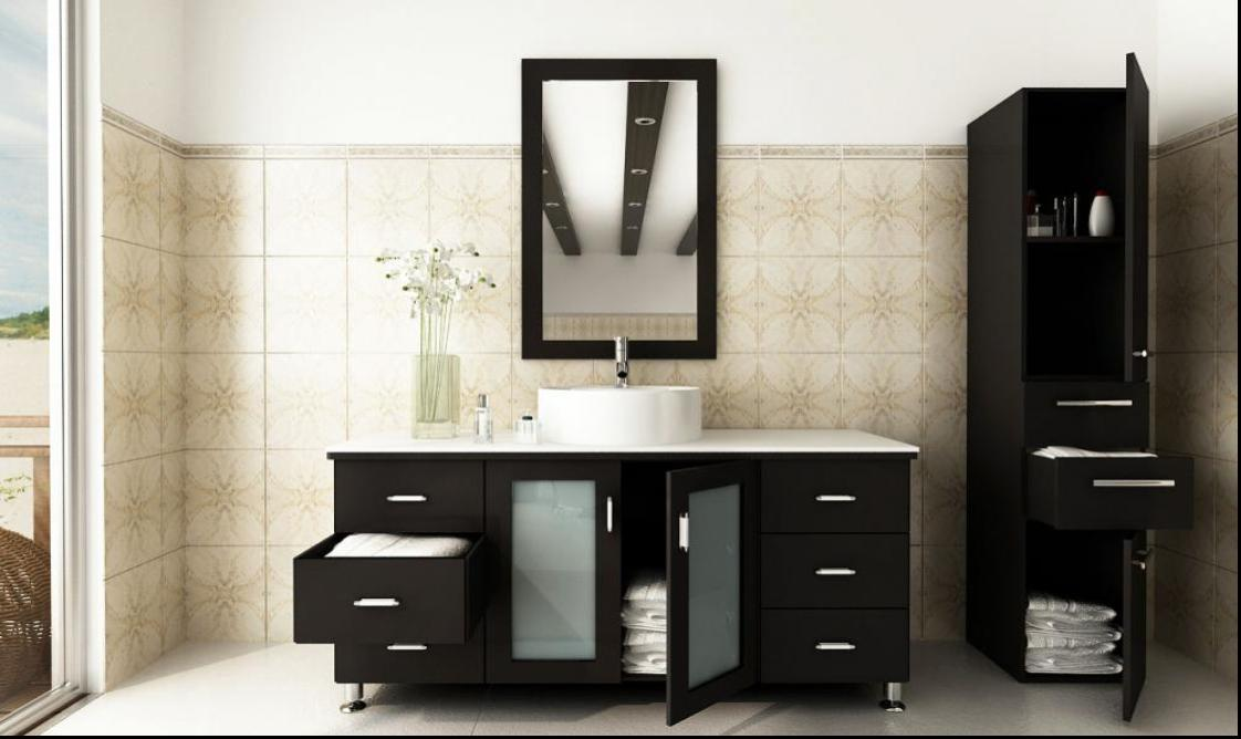 black wooden bathroom vanities with tops and sink plus faucet before the tile wall with single - Bathroom Cabinets Sink