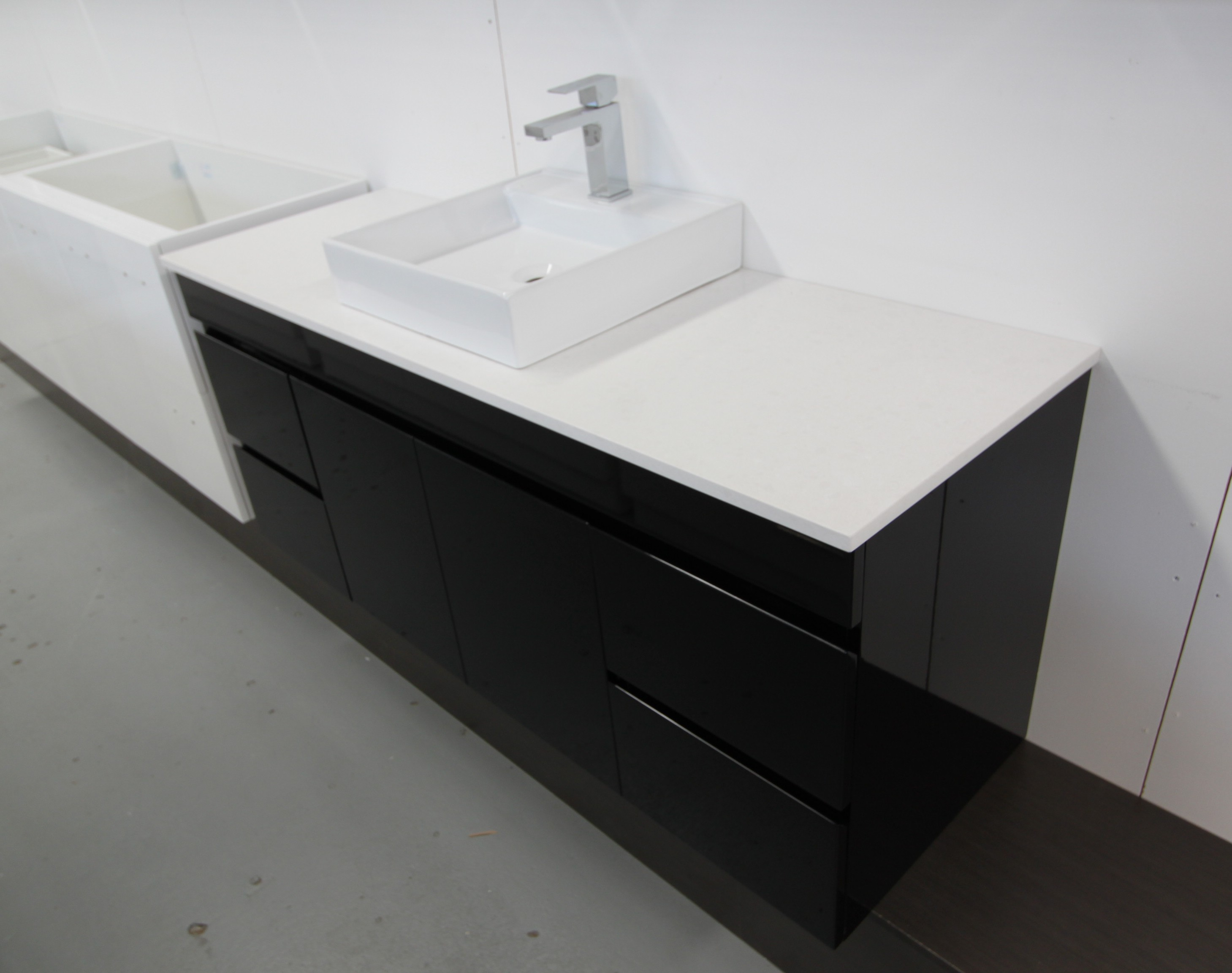 black wooden bathroom vanities with tops in white plus sink and faucet for bathroom decor ideas