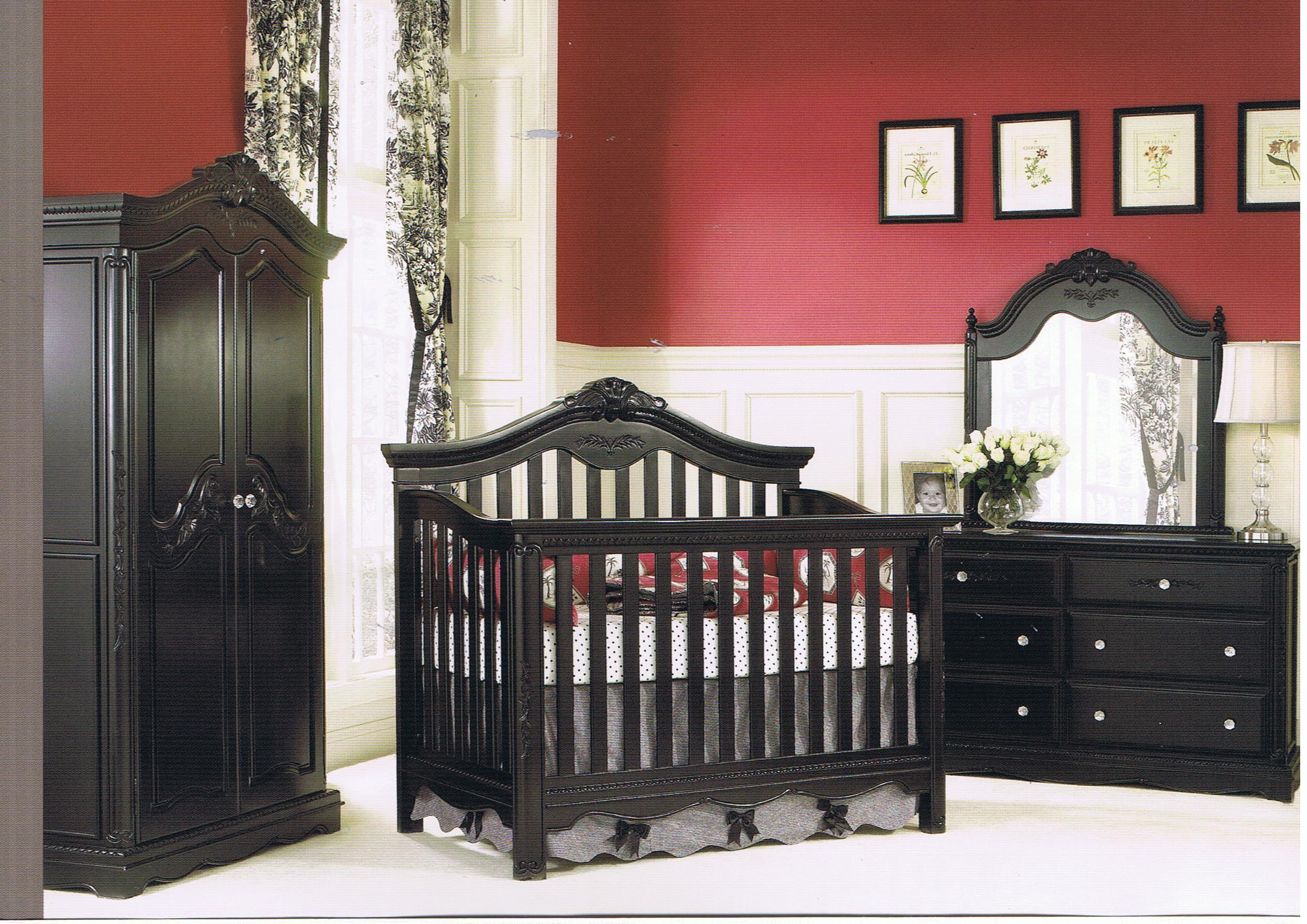 black wooden crib by munire crib on white floor plus black wooden vanity and cupboard before the red wall with white wainscoting for inspiring nursery decor ideas