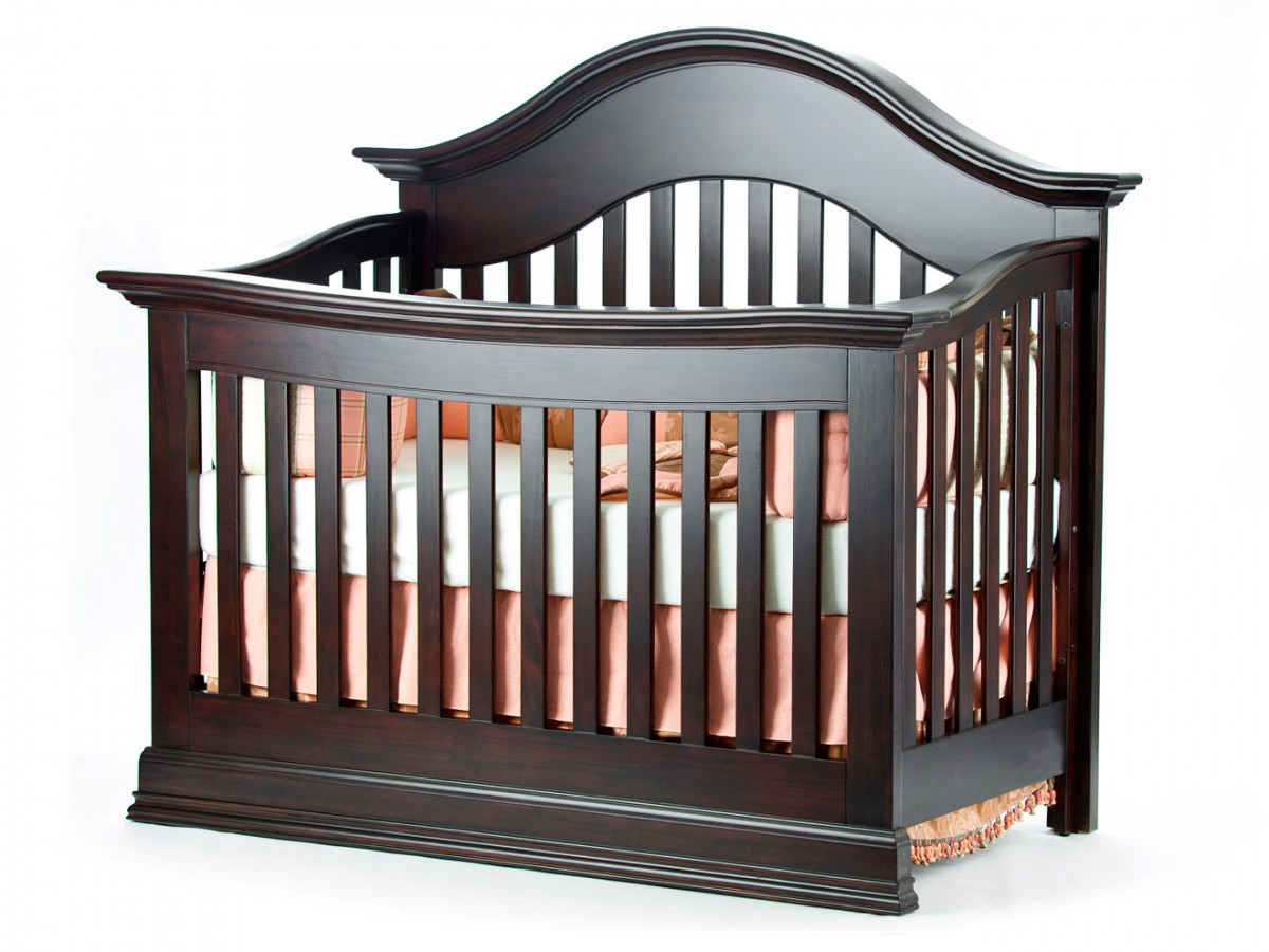 black wooden crib with orange bedding by munire crib for nursery furniture ideas