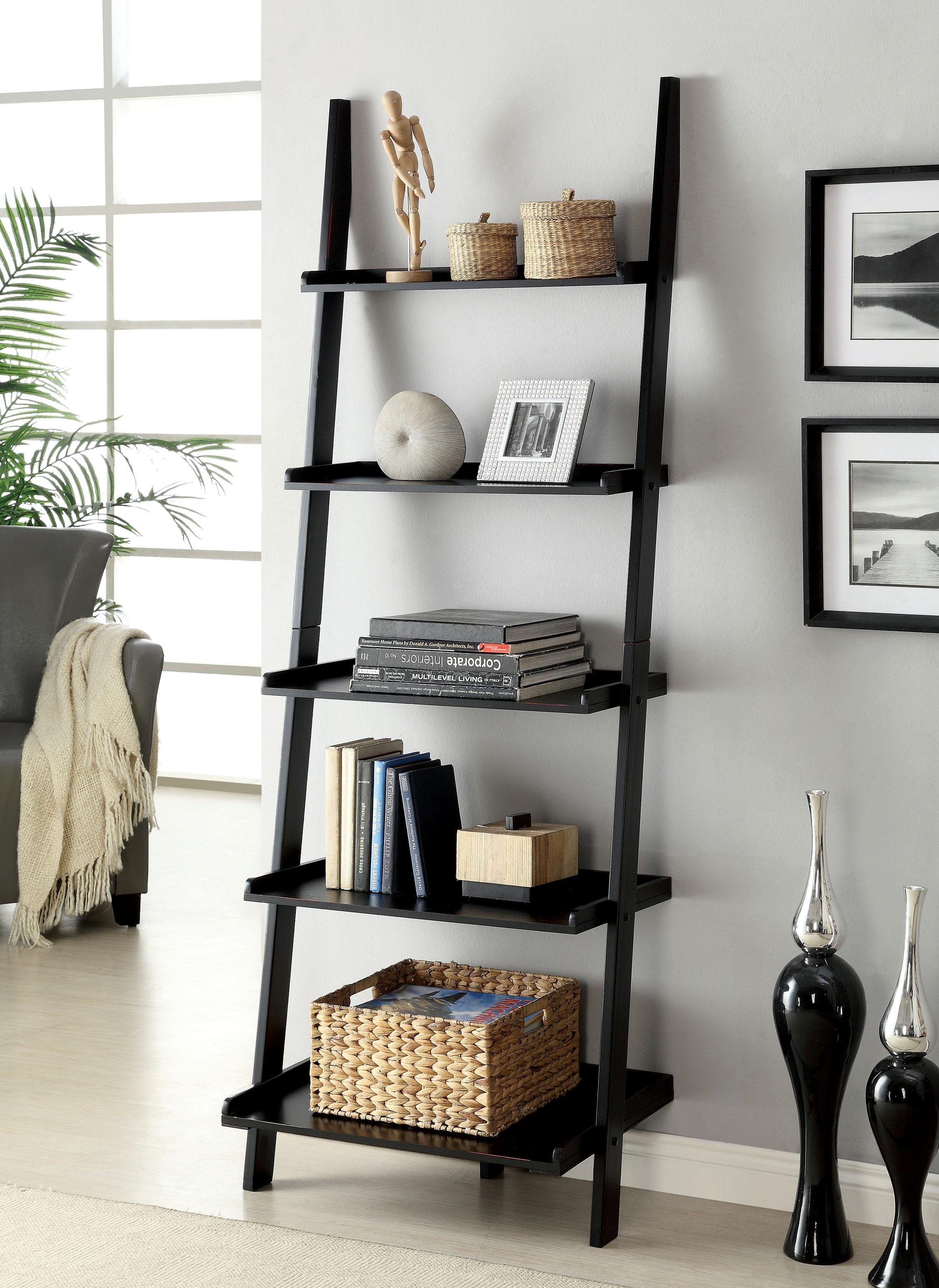 black wooden ladder bookshelf before the grey wall with picture for living room decor ideas