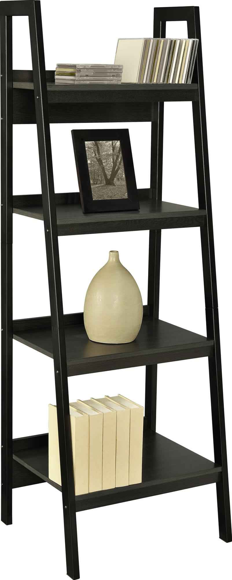 black wooden ladder bookshelf for home furniture ideas
