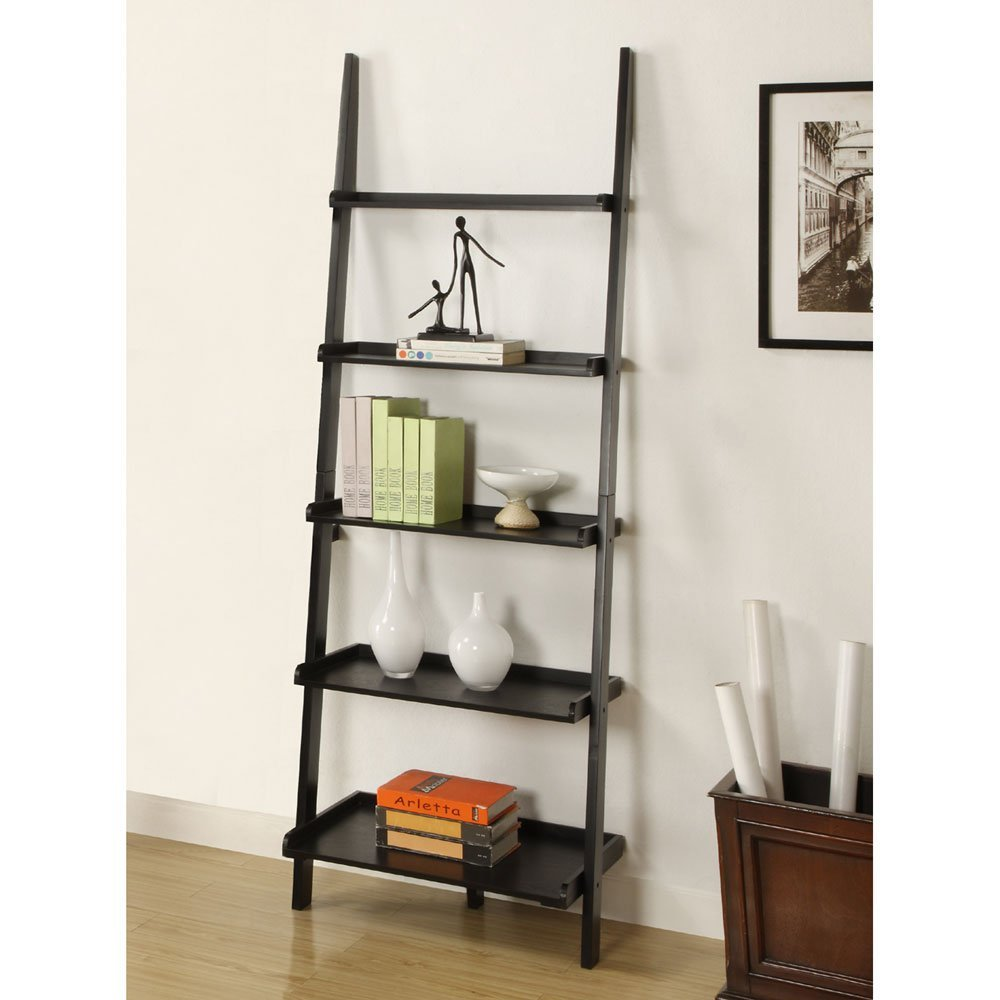 black wooden ladder bookshelf on wooden floor matched with white wall for living room decor ideas