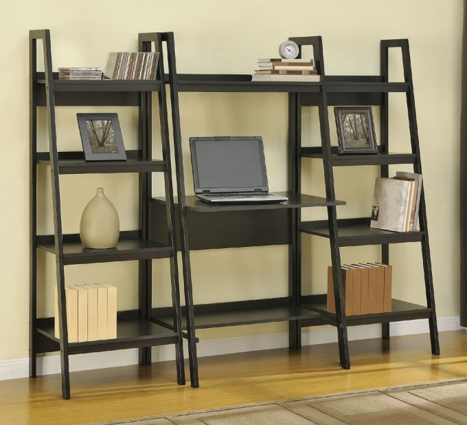 Black Wooden Ladder Bookshelf With Desk On Wooden Floor Matched With Cream Wall For Home Office Decor Ideas