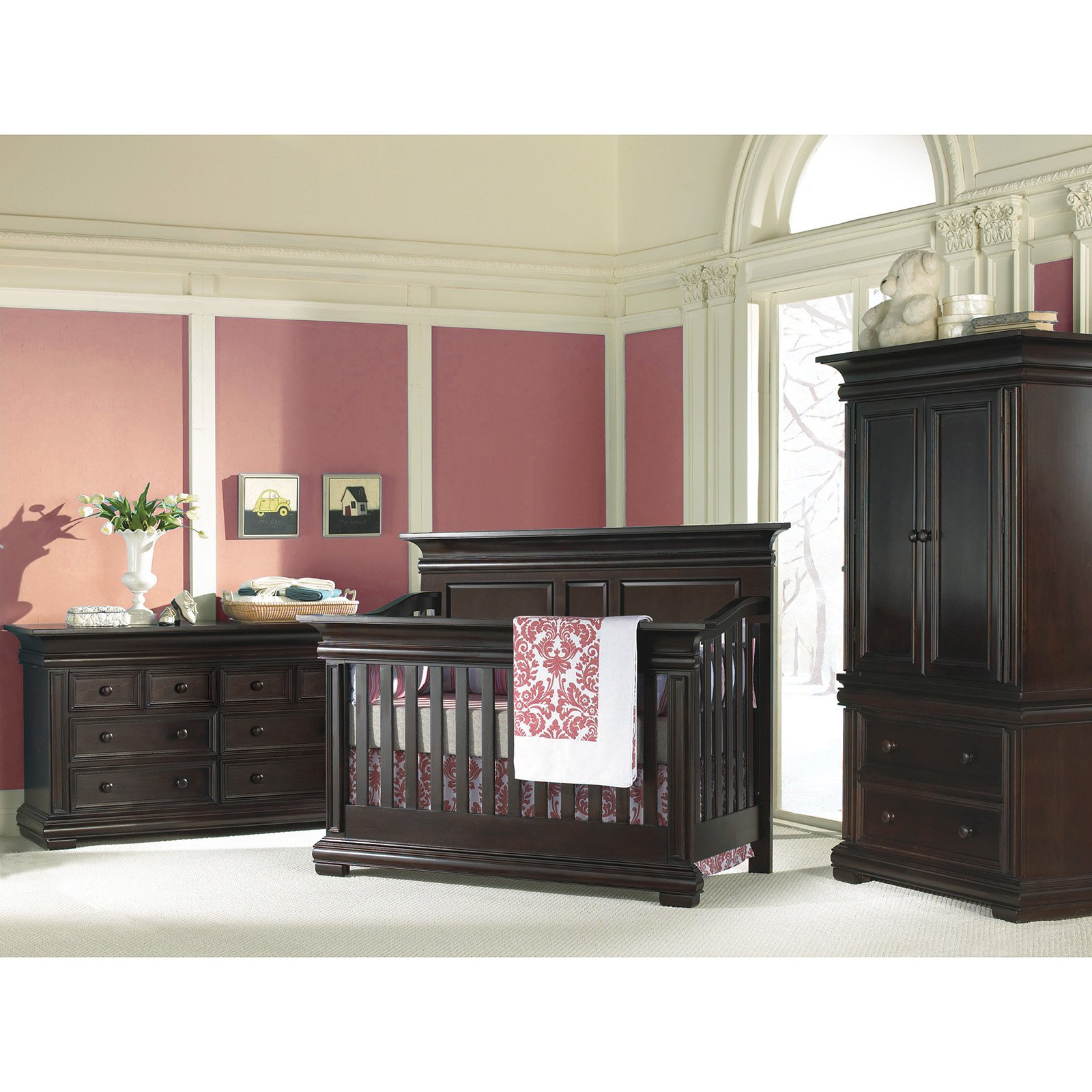 black wooden munire crib plus black wooden cupboard and dresser on white floor matched with pink wall for nursery decor ideas