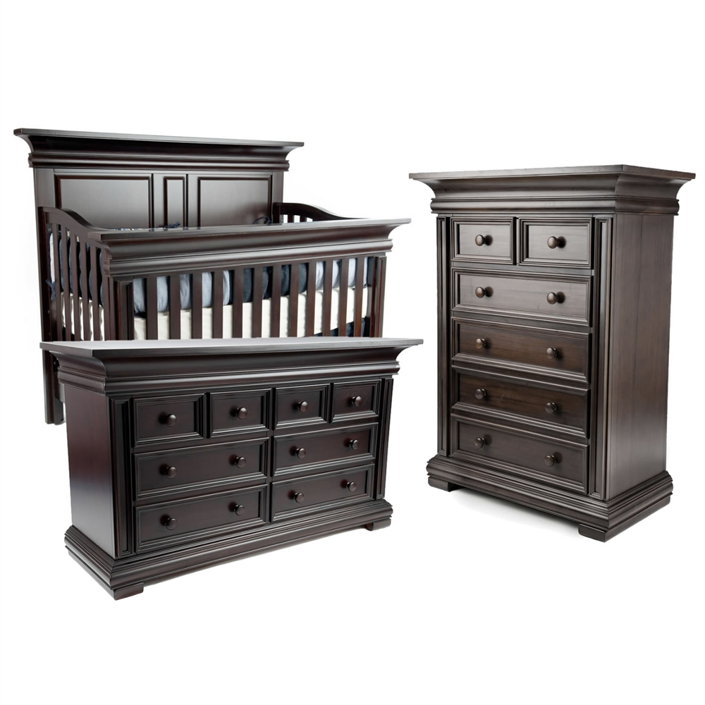 black wooden munire crib plus matching dresser for nursery furniture ideas