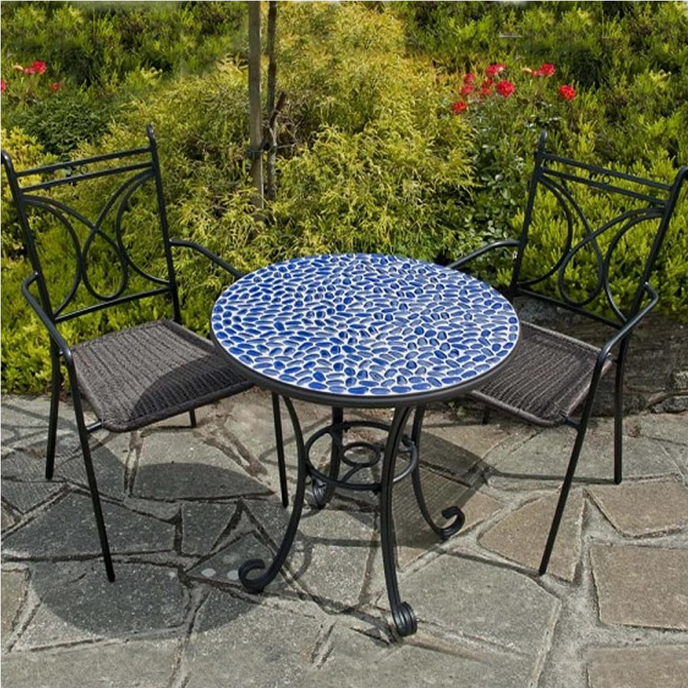 Blue Mosaic Bistro Table With Black Legs And Double Chairs For Patio  Furniture Ideas