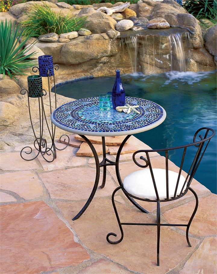 blue mosaic bistro table with lack legs and single table for home furniture ideas